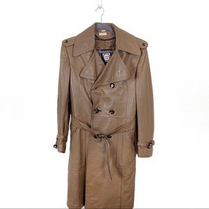 Vintage 70s Handmade Israel Leather Trench Coat 36